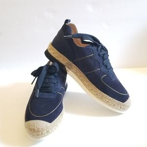 Kanna Lace Leather Sneakers Blue Size 10